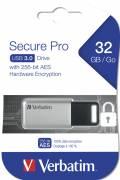 Verbatim USB Stick 32GB Speicherstick Store 'n' Go Secure Pro 256-bit AES silber USB 3.0