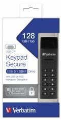 Verbatim USB Stick 128GB Speicherstick Keypad Secure AES 256 Bit schwarz TYP C USB 3.1