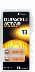 6 Duracell Activair Typ 13 / DA 13 Zink-Luft Hörgerätebatterien im 6er Blister