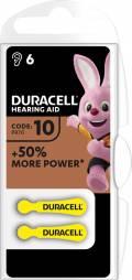6 Duracell Easytab Typ 10 / DA 10 Zink-Luft Hörgerätebatterien im 6er Blister