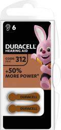6 Duracell Easytab Typ 312 / DA 312 Zink-Luft Hörgerätebatterien im 6er Blister