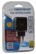 Esperanza USB Ladegerät Charger Travel Universal 2x USB Steckplatz schwarz EZ114