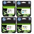4 HP Druckerpatronen Tinte Nr. 912 XL BK / C / M / Y Multipack