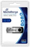 Mediarange USB Stick 32GB Speicherstick Swivel Swing silber