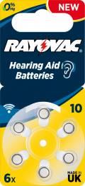 6 Rayovac 4610 Retail Typ 10 Zink-Luft Hörgerätebatterien im 6er Blister