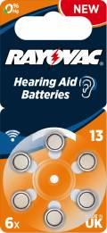 6 Rayovac 4606 Retail Typ 13 Zink-Luft Hörgerätebatterien im 6er Blister