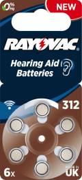 6 Rayovac 4607 Retail Typ 312 Zink-Luft Hörgerätebatterien im 6er Blister