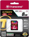 Transcend SDHC Karte 8GB Speicherkarte Ultimate 600x UHS-I Class 10