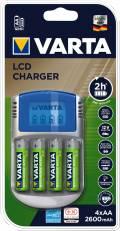 Varta Akku Ladegerät Charger LCD USB IN KFZ 4x AA 2600mAh für 4 AA / AAA 57070