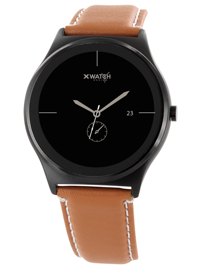 Xlyne Pro Smartwatch X-Watch Qin XW Prime II Black ultraflat Android IOS braun