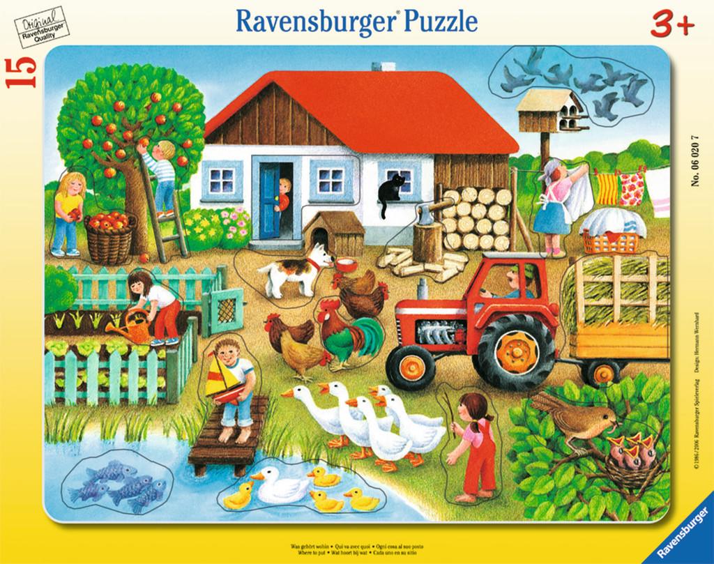 15 Teile Ravensburger Kinder Rahmen Puzzle Was gehört wohin? 06020