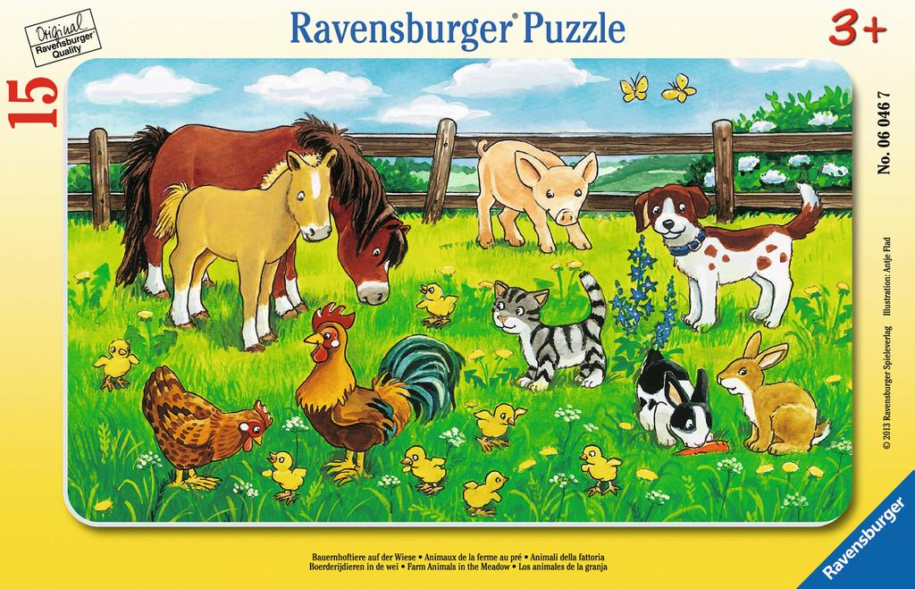 15 Teile Ravensburger Kinder Rahmen Puzzle Bauernhoftiere auf der Wiese 06046