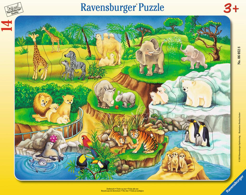 14 Teile Ravensburger Kinder Rahmen Puzzle Zoobesuch 06052