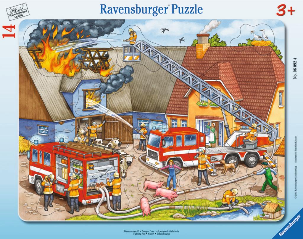 14 Teile Ravensburger Kinder Rahmen Puzzle Wasser marsch! 06092