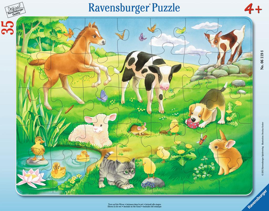 35 Teile Ravensburger Kinder Rahmen Puzzle Tiere auf der Wiese 06119