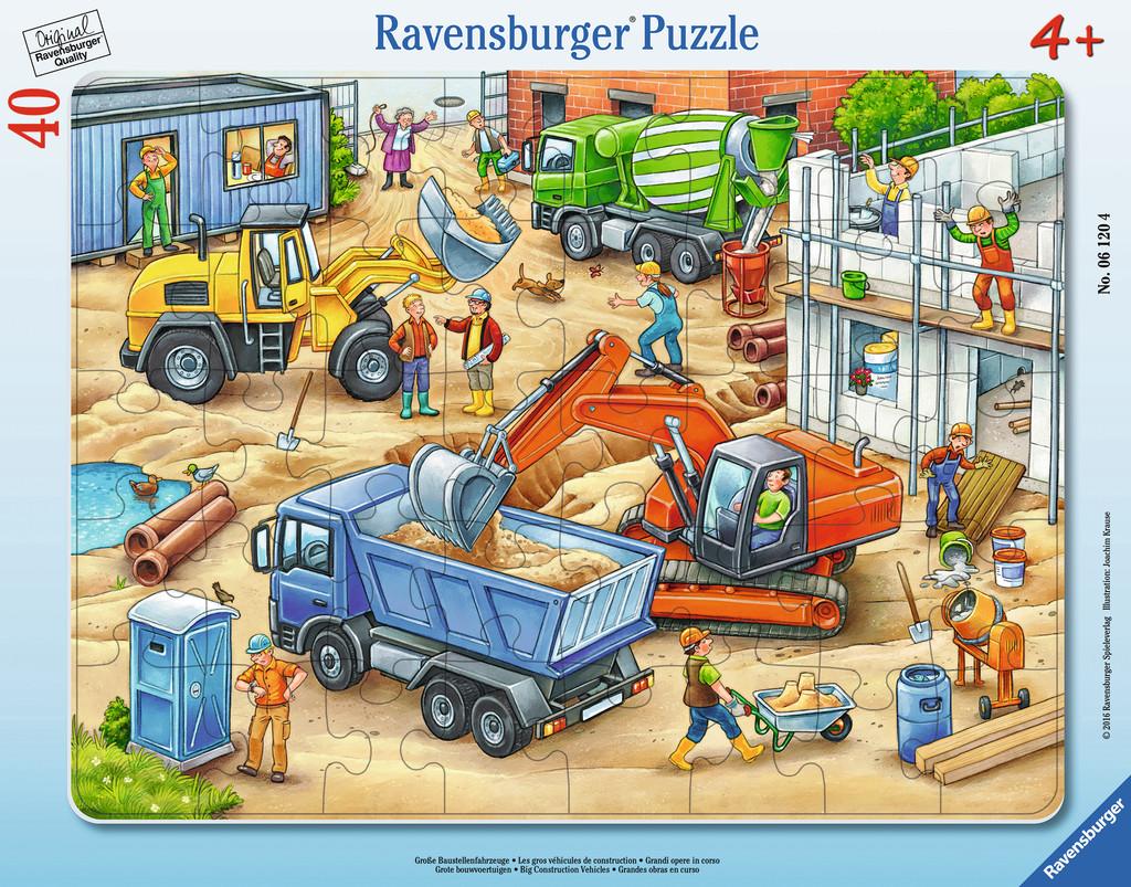 40 Teile Ravensburger Kinder Rahmen Puzzle Große Baustellenfahrzeuge ...