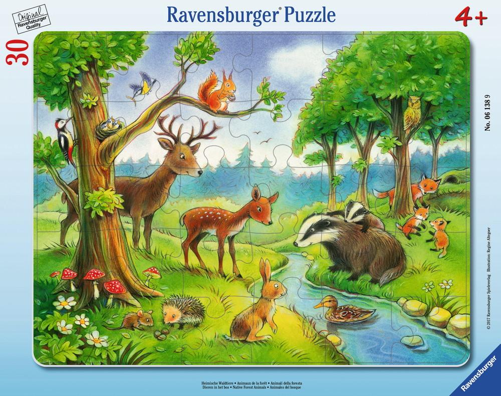 30 Teile Ravensburger Kinder Rahmen Puzzle Heimische Waldtiere 06138
