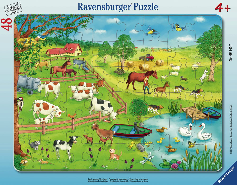 48 Teile Ravensburger Kinder Rahmen Puzzle Spaziergang auf dem Land ...