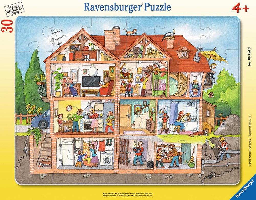 30 Teile Ravensburger Kinder Rahmen Puzzle Blick ins Haus 06154