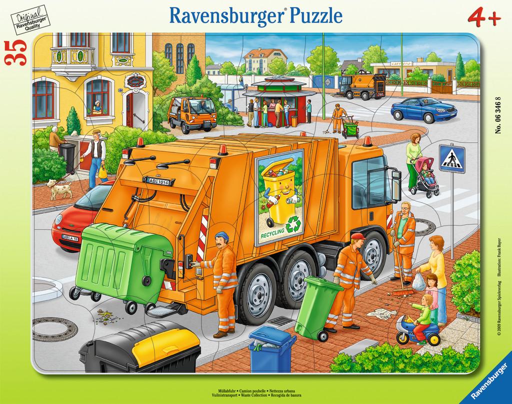 35 Teile Ravensburger Kinder Rahmen Puzzle Müllabfuhr 06346
