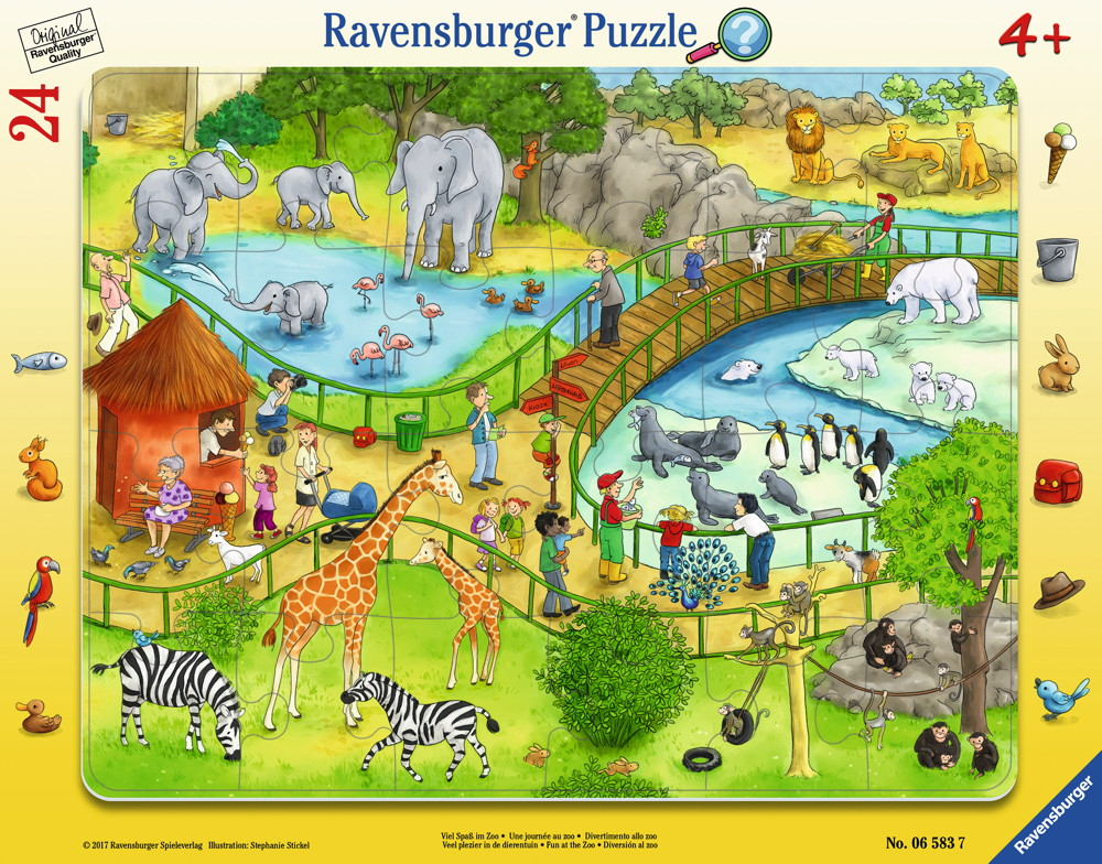 24 Teile Ravensburger Kinder Rahmen Puzzle Viel Spaß im Zoo 06583
