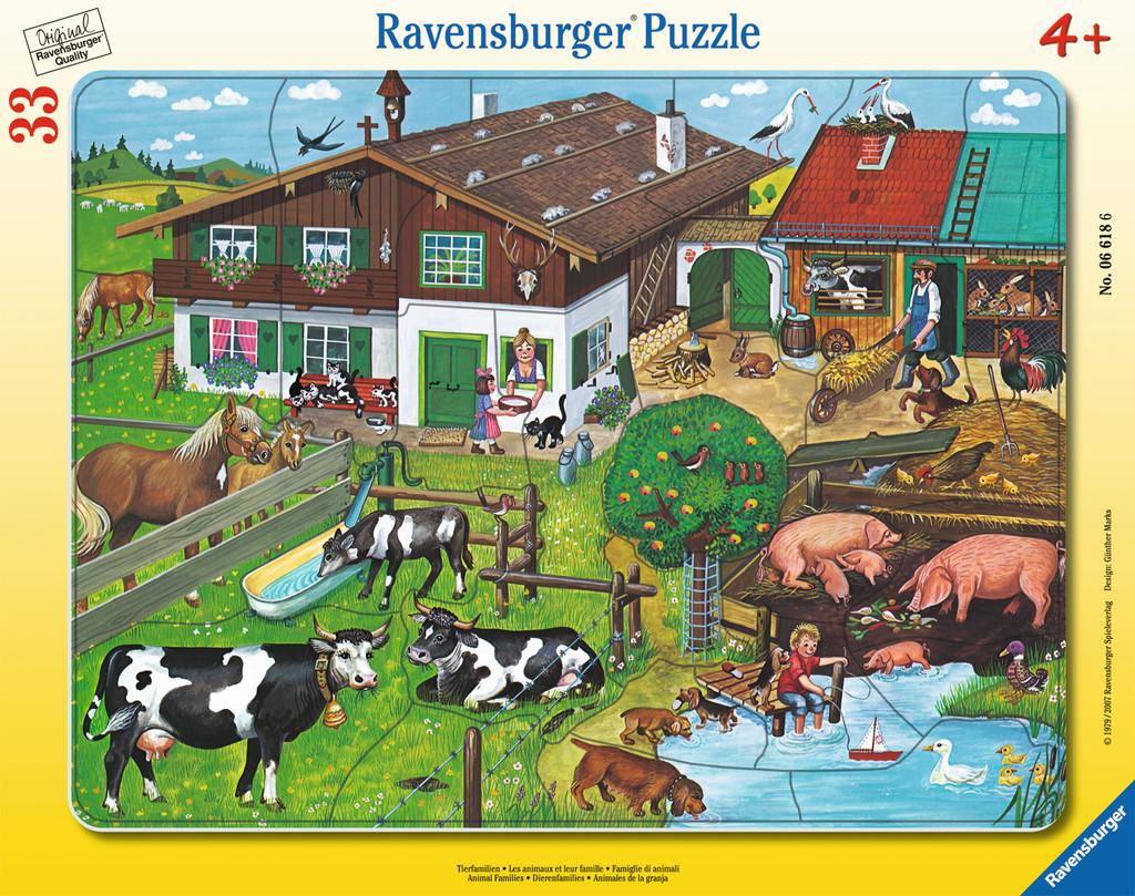 33 Teile Ravensburger Kinder Rahmen Puzzle Tierfamilien 06618
