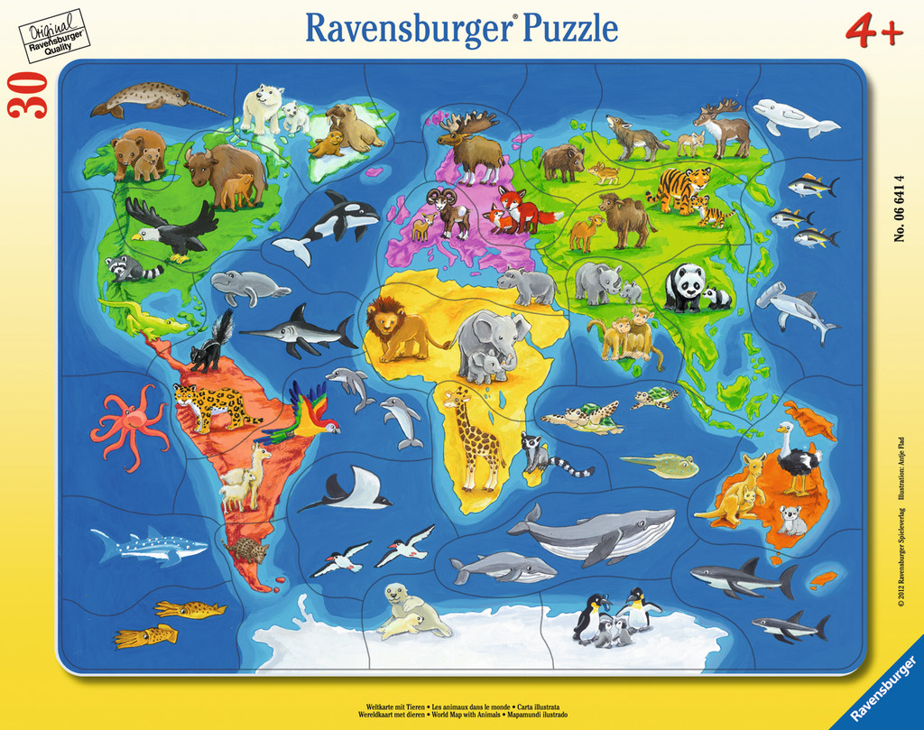 30 Teile Ravensburger Kinder Rahmen Puzzle Weltkarte mit Tieren 06641