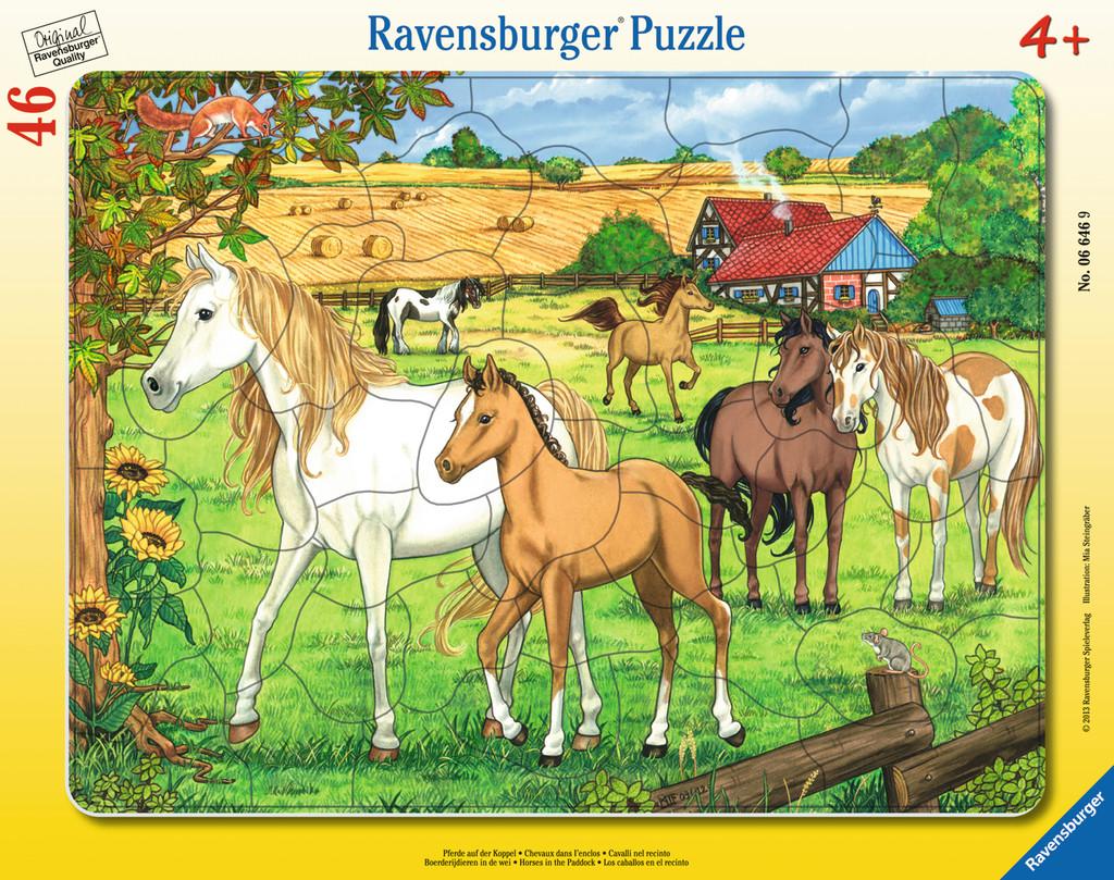 46 Teile Ravensburger Kinder Rahmen Puzzle Pferde auf der Koppel 06646