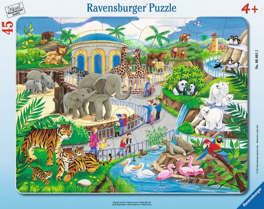 45 Teile Ravensburger Kinder Rahmen Puzzle Besuch im Zoo 06661