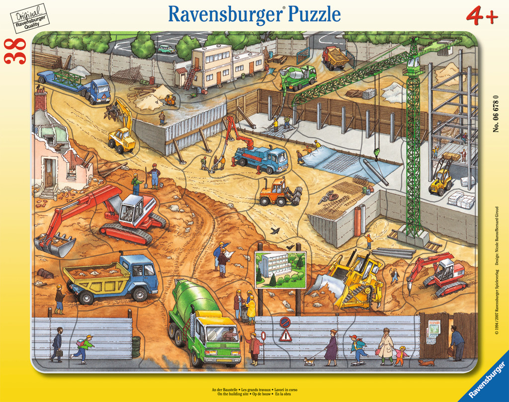 38 Teile Ravensburger Kinder Rahmen Puzzle An der Baustelle 06678