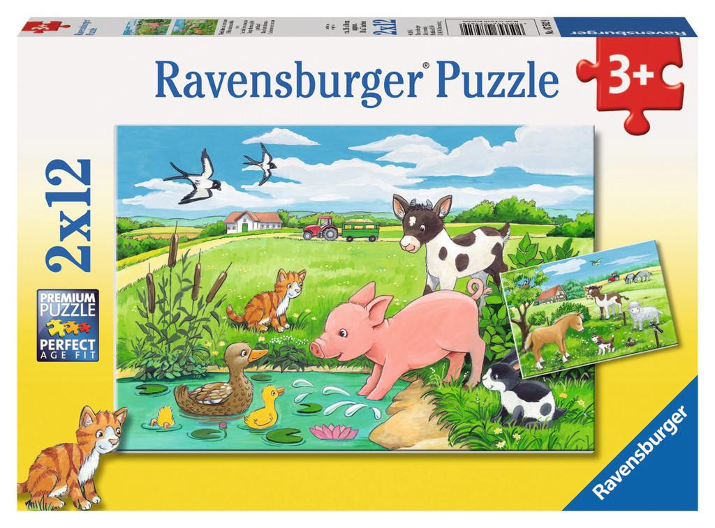 2 x 12 Teile Ravensburger Kinder Puzzle Tierkinder auf dem Land 07582
