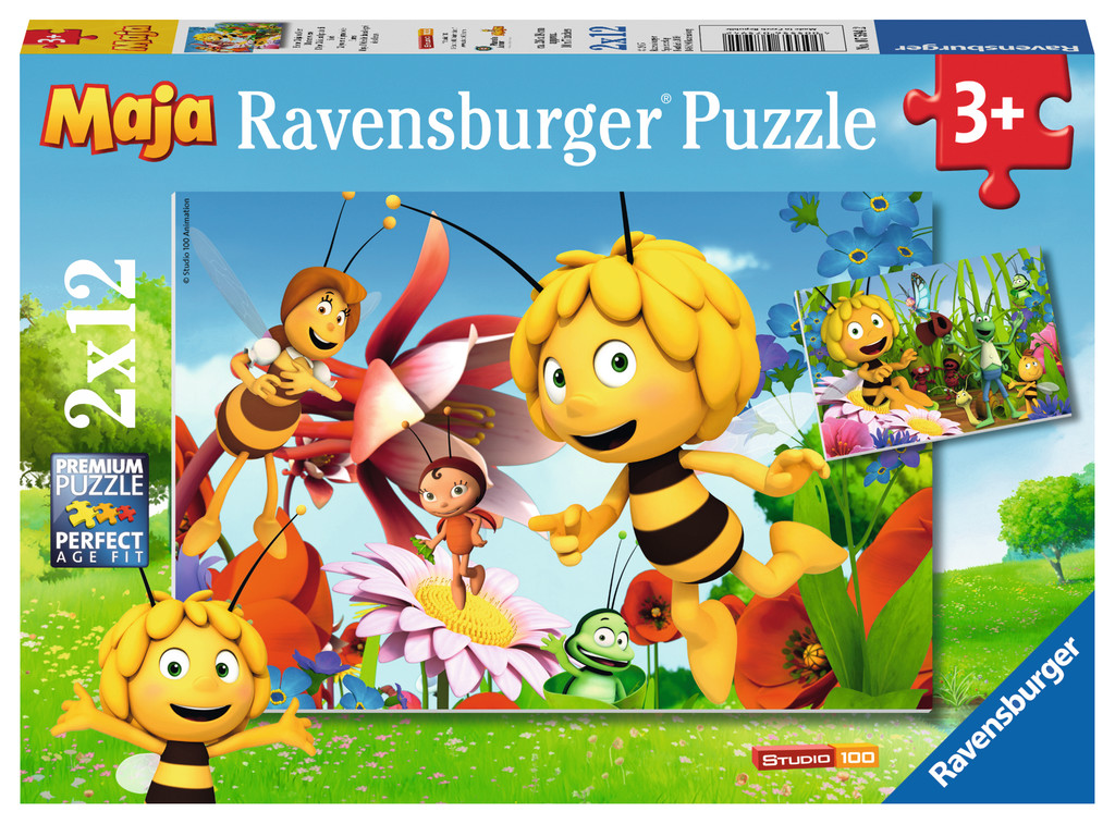 2 x 12 Teile Ravensburger Kinder Puzzle Biene Maja Biene Maja auf der Blumenwiese 07594