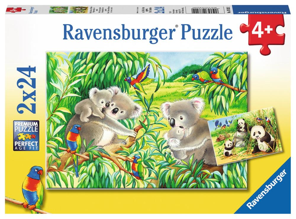 2 x 24 Teile Ravensburger Kinder Puzzle Süße Koalas und Pandas 07820