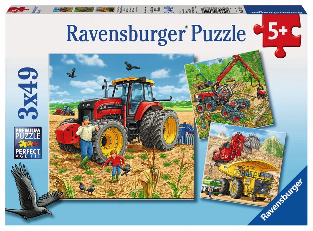 3 x 49 Teile Ravensburger Kinder Puzzle Große Maschinen 08012