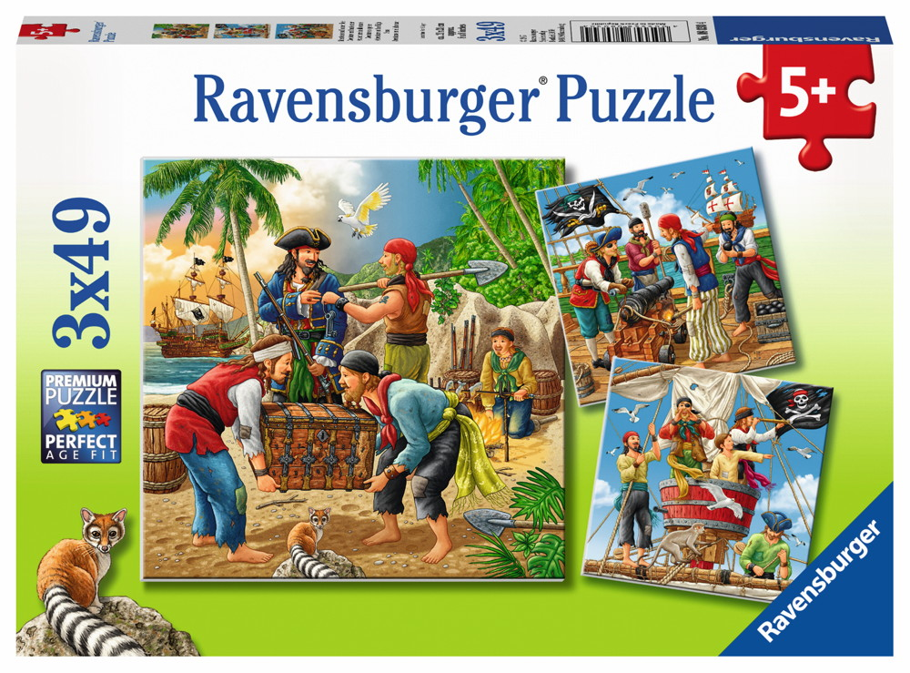 3 x 49 Teile Ravensburger Kinder Puzzle Abenteuer auf hoher See 08030