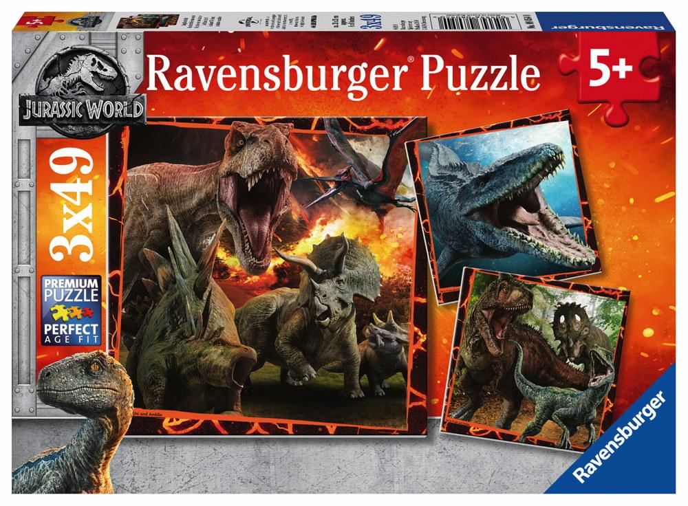 3 x 49 Teile Ravensburger Kinder Puzzle Jurassic World Jurassic World 2 08054