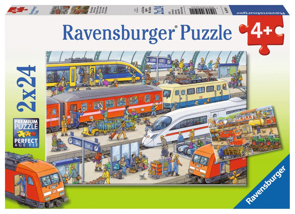 2 x 24 Teile Ravensburger Kinder Puzzle Trubel am Bahnhof 09191