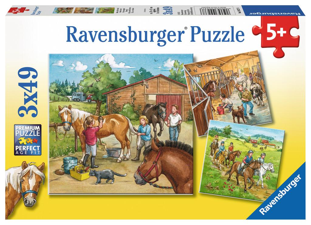3 x 49 Teile Ravensburger Kinder Puzzle Mein Reiterhof 09237