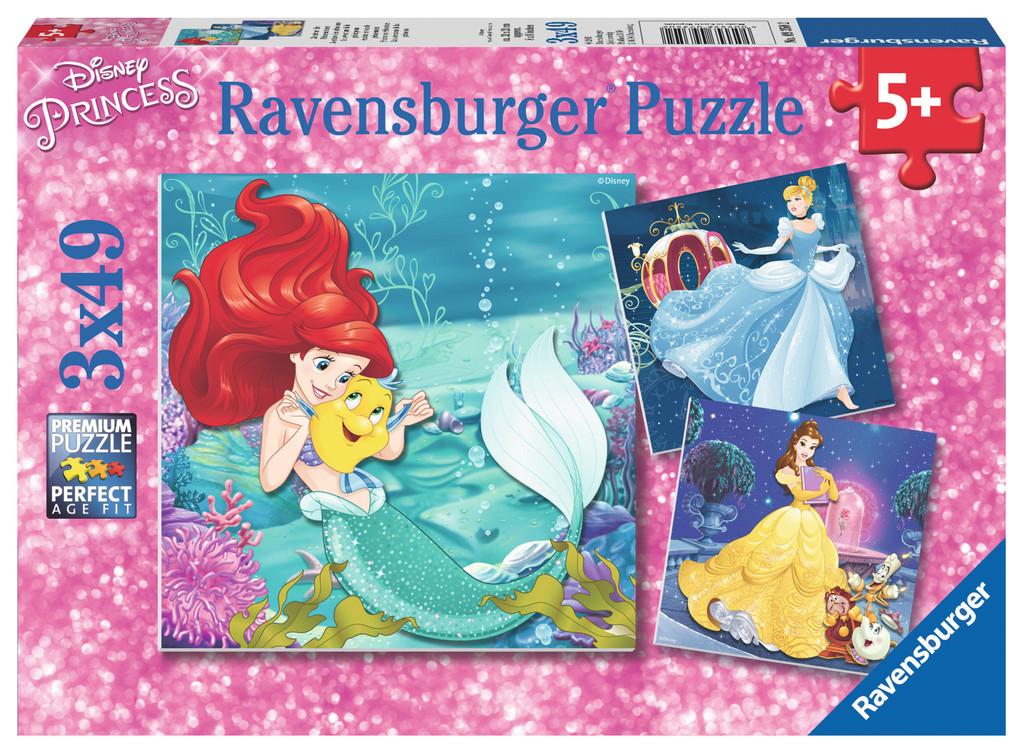 3 x 49 Teile Ravensburger Kinder Puzzle Disney Prinzessinnen Abenteuer der Prinzessinnen 09350