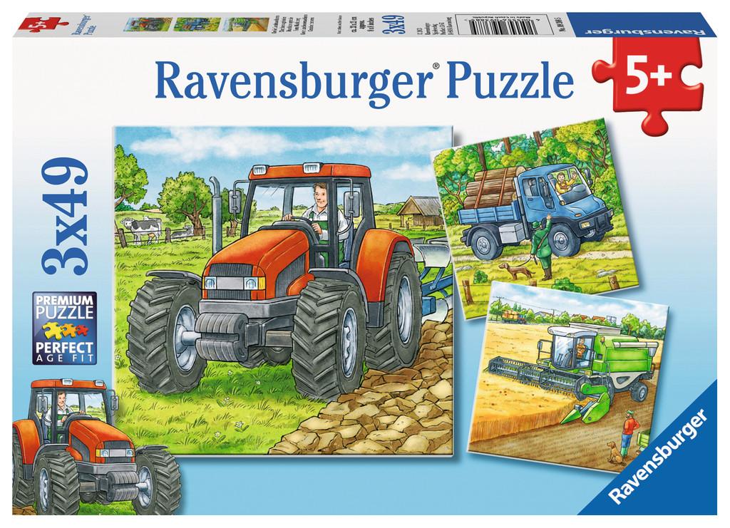 3 x 49 Teile Ravensburger Kinder Puzzle Große Landmaschinen 09388