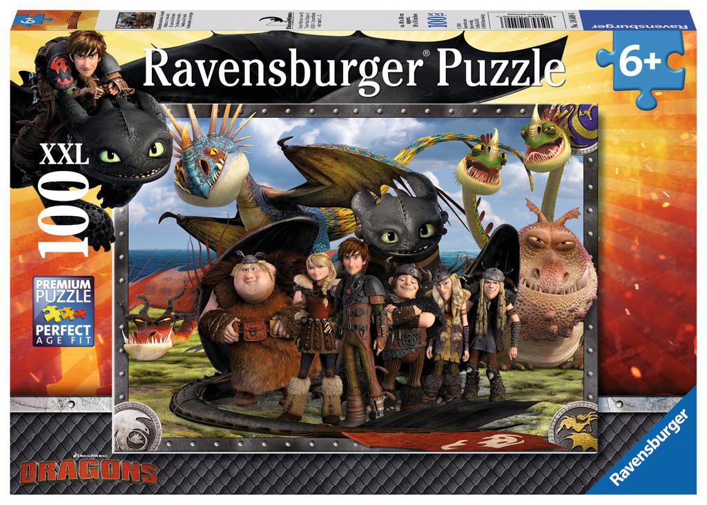 100 Teile Ravensburger Kinder Puzzle XXL Dragons Ohnezahn und seine Freunde 10549