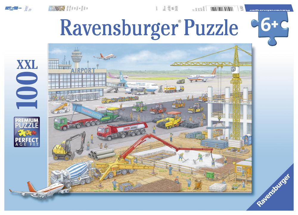 100 Teile Ravensburger Kinder Puzzle XXL Baustelle am Flughafen 10624