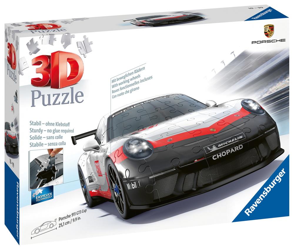 108 Teile Ravensburger 3D Puzzle Auto Porsche Porsche GT3 Cup 11147