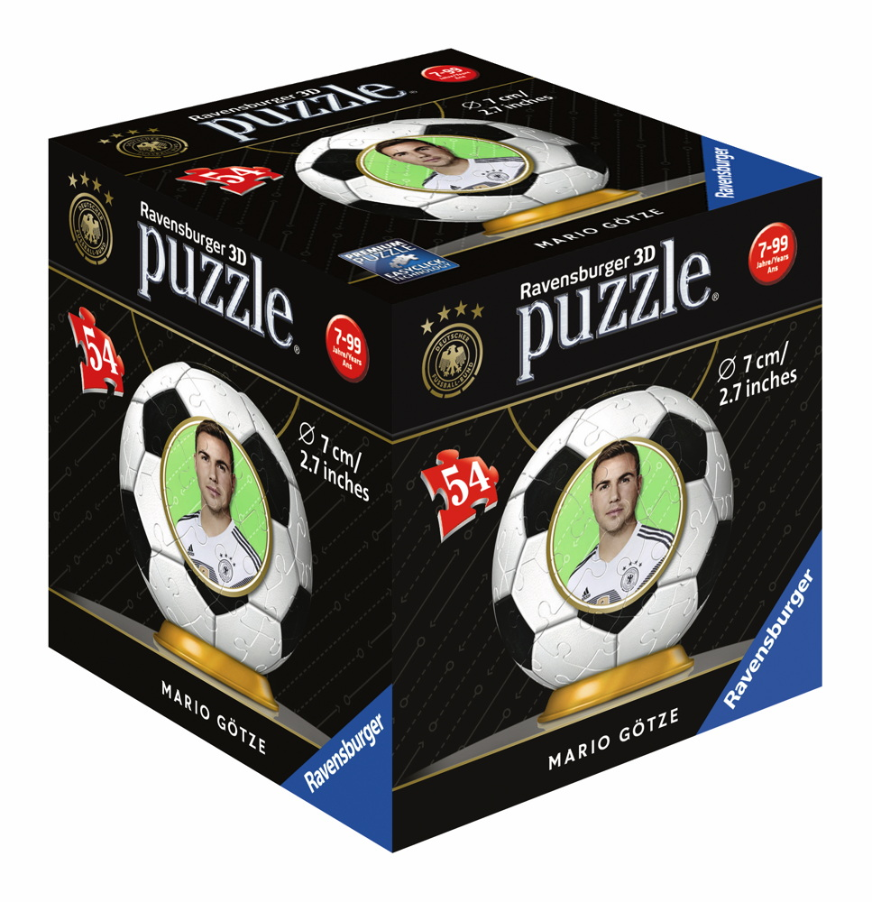 54 Teile Ravensburger 3D Puzzle Ball WM 2018 Mario Götze 11935
