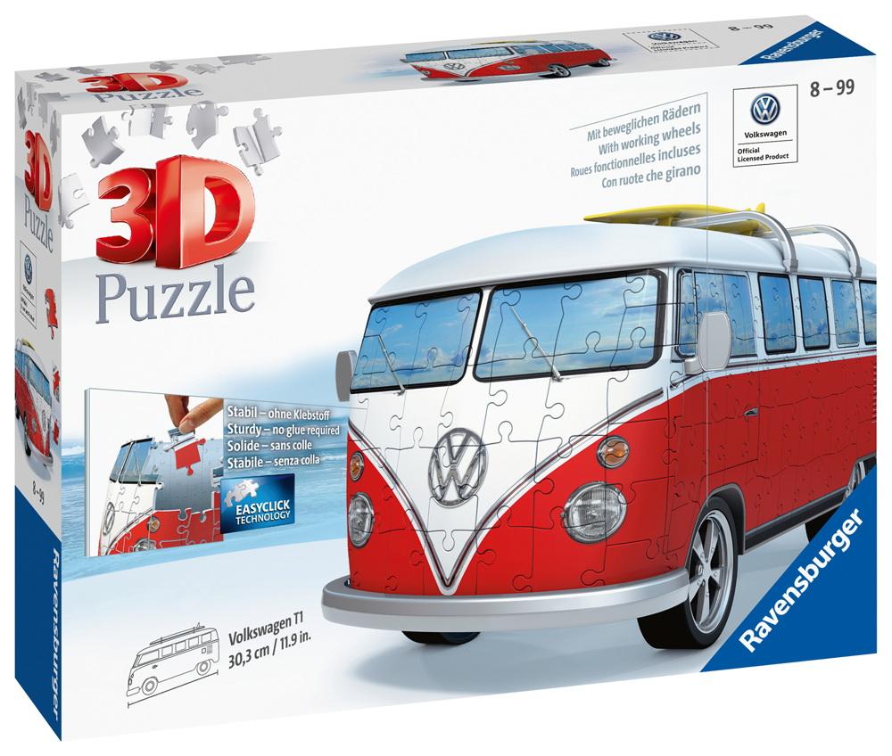 162 Teile Ravensburger 3D Puzzle VW Volkswagen Bus T1 Surfer Edition 12516