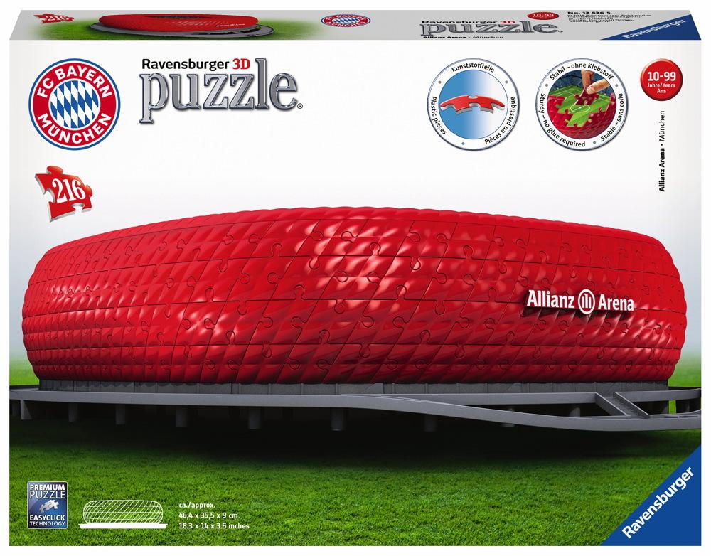 216 Teile Ravensburger 3D Puzzle Bauwerk FC Bayern München Allianz Arena 12526