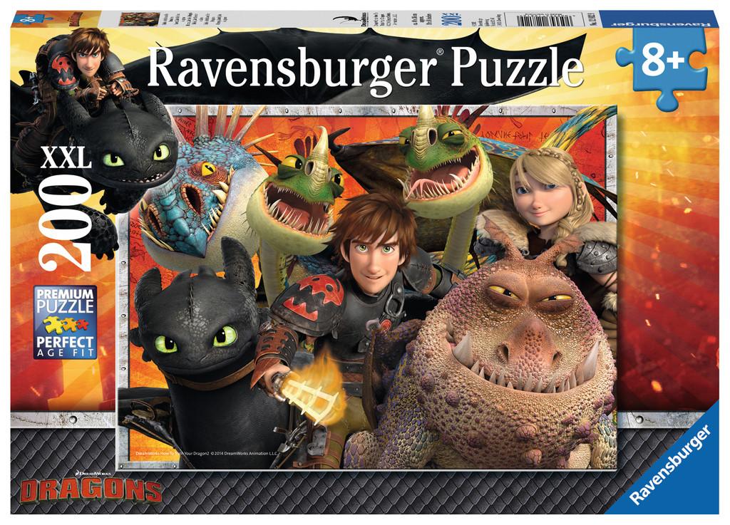 200 Teile Ravensburger Kinder Puzzle XXL Dragons Hicks, Astrid und die Drachen 12812