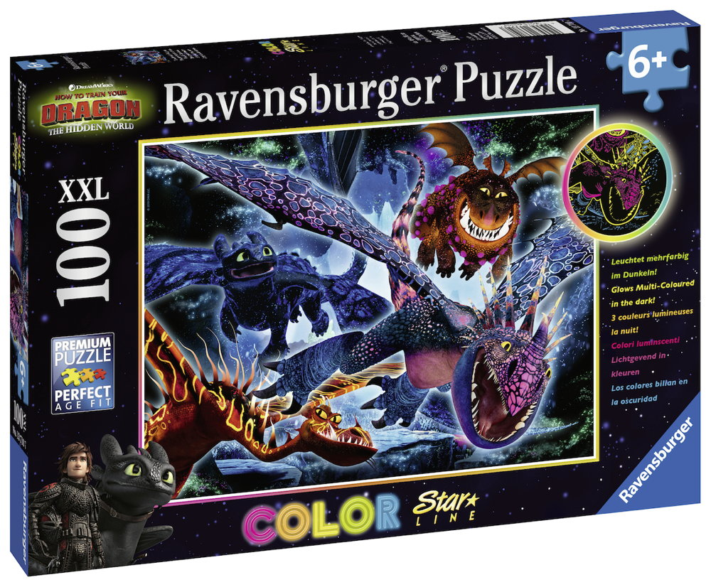100 Teile Ravensburger Kinder Puzzle XXL Star Line Dragons Leuchtende Dragons 13710