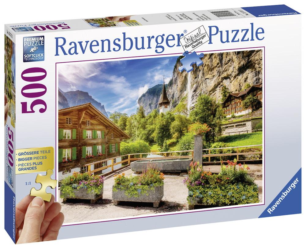 500 Teile Ravensburger Puzzle Gold Edition - größere Teile Lauterbrunnen 13712