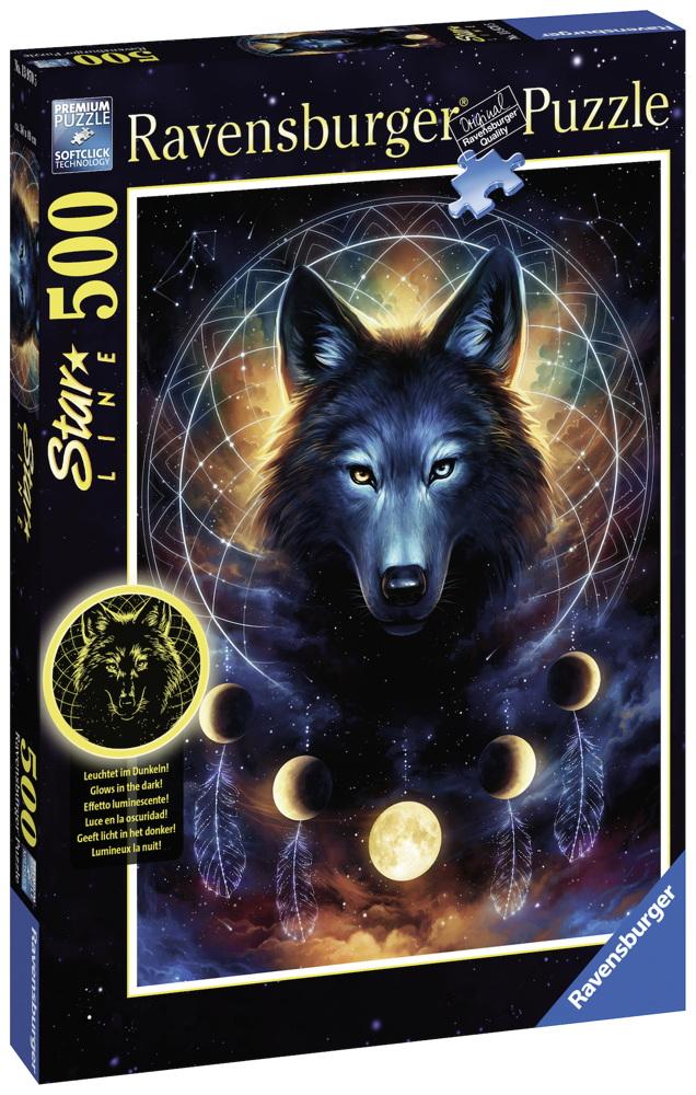 500 Teile Ravensburger Puzzle Star Line Leuchtender Wolf 13970